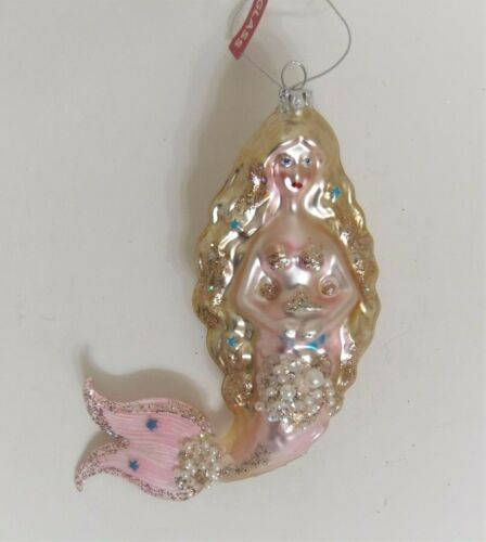 Mermaid Pink With Faux Pearls & Sparkles Blown Glass Ornament NEW