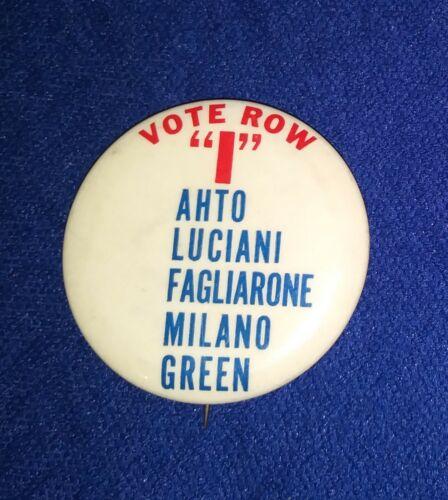 """NEW JERSEY LOCAL AHTO LUCIANI FAGLIONE MILANO GREEN """"I"""" POLITICAL PINBACK BUTTON"""