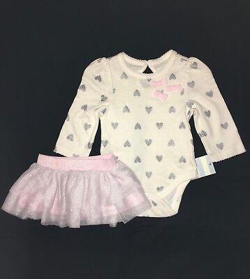 CAT & JACK Silver Glitter Heart Print Top Bodysuit Shirt Pink Tutu Skirt Set 12M - Silver Tutus