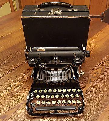 ANTIQUE CORONA #3 PORTABLE FOLDING TYPEWRITER WITH ORIGINAL CASE VERY NICE