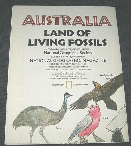 Vintage 1979 Australia Land of Living Fossils National Geographic Map & Info