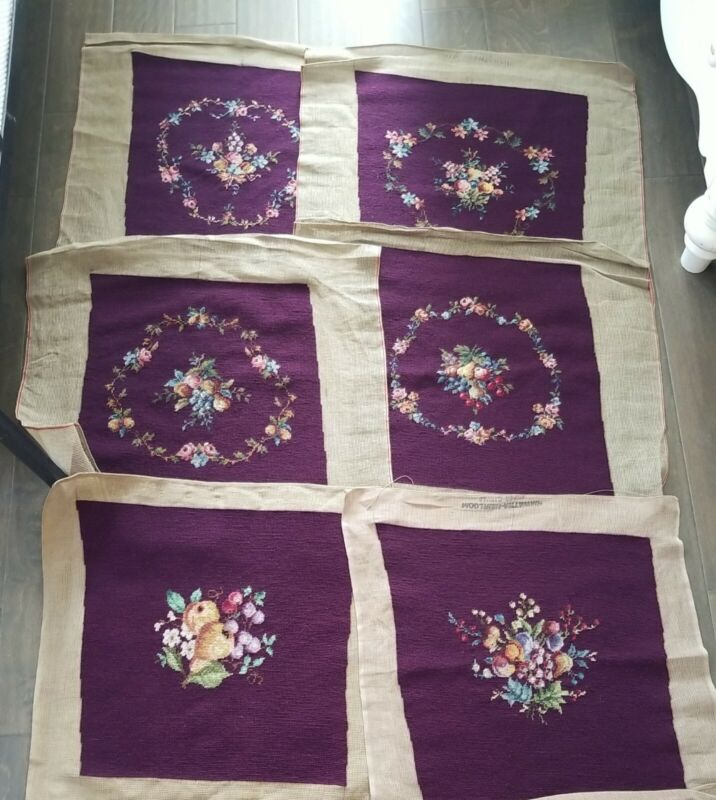6 Hiawatha Heirlooms Finished Needlepoint Seat Covers Mulberry  Floral Fruit NOS
