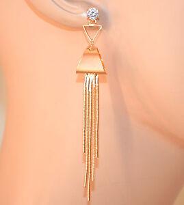 ORECCHINI-donna-oro-dorati-fili-pendenti-lunghi-strass-bigiotteria-regalo-A60