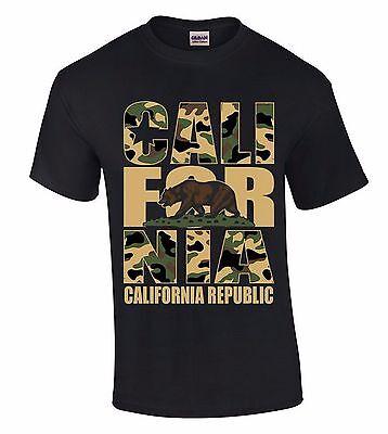 Cali For Nia Camouflage T-SHIRT California Republic Camo State Bear Retro Shirt