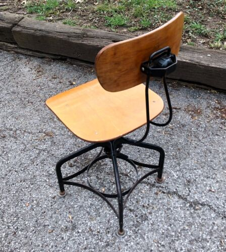 Vintage UHL Toledo Drafting Stool Chair Height Adjusts Swivels Industrial