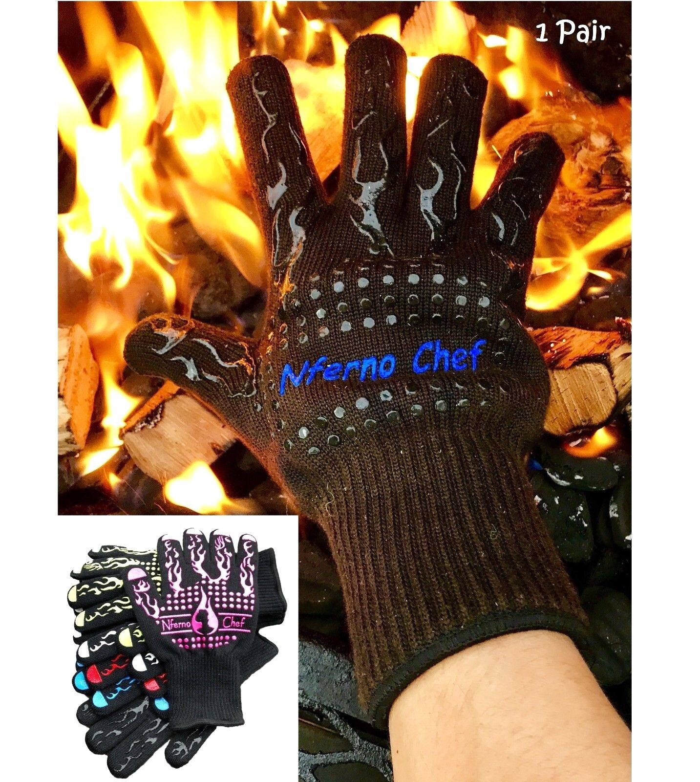 Heat Resistant Cooking Gloves for BBQ, Baking or Grilling: R