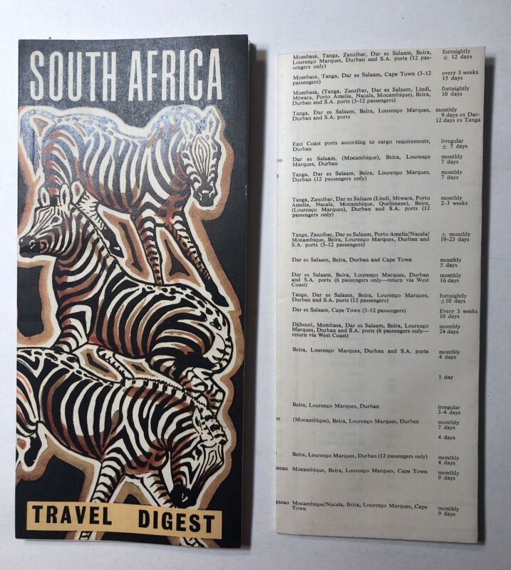 Vintage Travel Booklet  SOUTH AFRICA 1962 & Shipping And Air Schedule Fold Out
