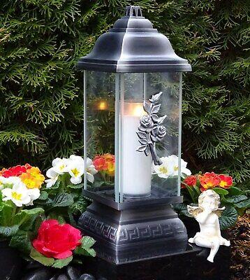 Grabschmuck Grablaterne Grablampe Grableuchte Rose Grablicht Kerze Laterne