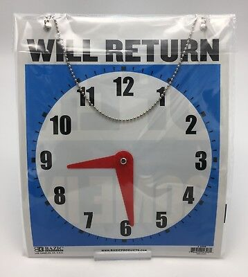Large Double-sided Open Will Return Sign W Clock Hands 7.5x9 Durable Plastic