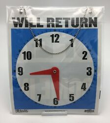 LARGE Double-Sided OPEN / WILL RETURN Sign w Clock Hands 7.5x9 Durable Plastic