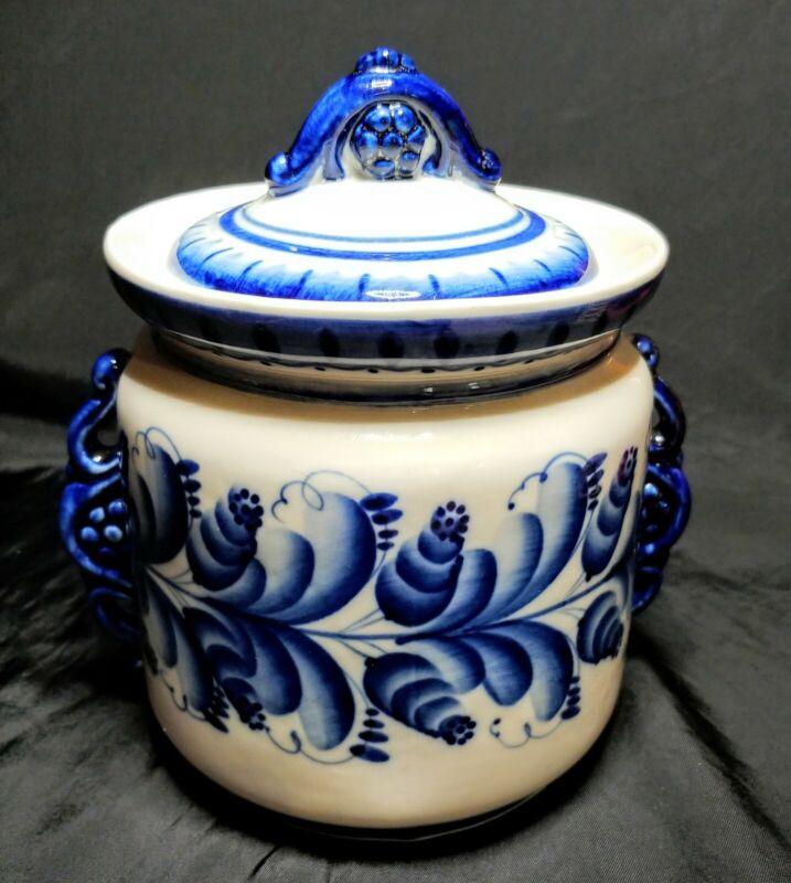 Vintage Russian Gzhel Hand Painted Porcelain Biscuit Jar With Lid Blue Floral