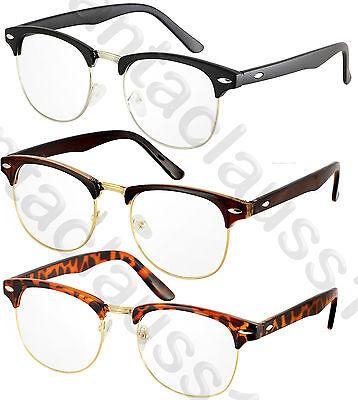 Half Frame Vintage Retro Clear Lens Mens Womens Fashion Glasses
