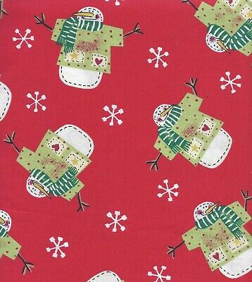 Prim Country Snowman Fabric 1 Yard BTY Snowflakes Red and Green Primitive Style  - Country Snowman