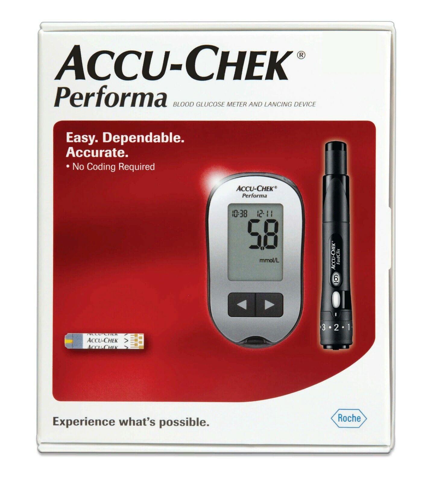 Accu Chek Performa Blood Glucose Meter + 10 Softclix lancets