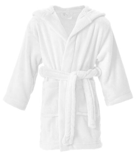 Boys Girls Plush Hooded Bath Robe Kids Child Outdoor Cover up W/ Pockets