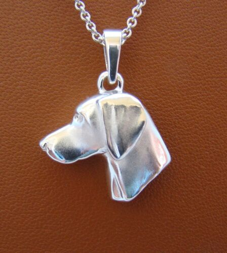 Large Sterling Silver Weimaraner Head Study Pendant