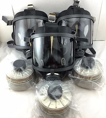 Scott/SEA Domestic Preparedness [3 Three Gas Masks] with Mestel Filters Exp:2022