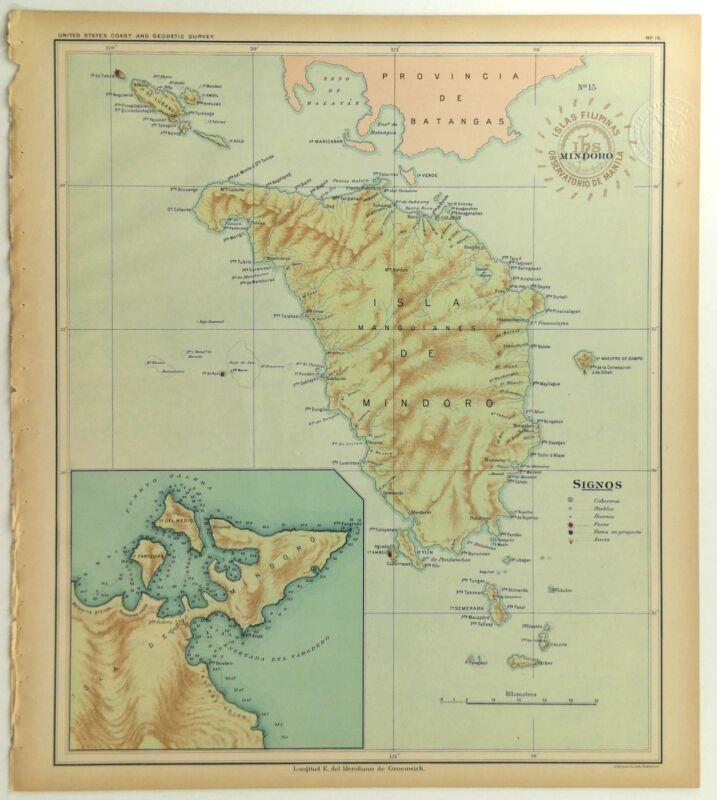 1899 Official US Navy Jesuit Observatory Map Philippine Islands Isla De Mindoro