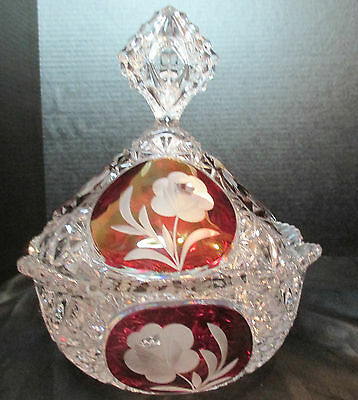 """Hofbauer Bleikristal? Crystal Covered Dish Red With Frosted Rose 9 1/4"""" Tall"""