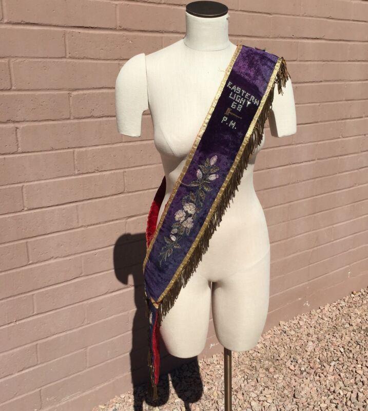 OES Order Of The Eastern Star Vintage Sash Purple Velvet Fringe Light 68 Matron