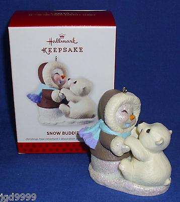 Hallmark Series Ornament Snow Buddies #16 2013 Snowman and Polar Bear Hug NIB