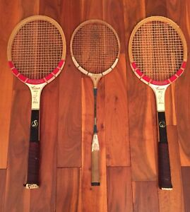 Set of 3 Vintage Wooden Tennis and Badminton racquets.