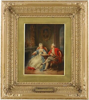 An Elegant Couple Antique Oil Painting by Robert Antoine Müller (1821–1883)