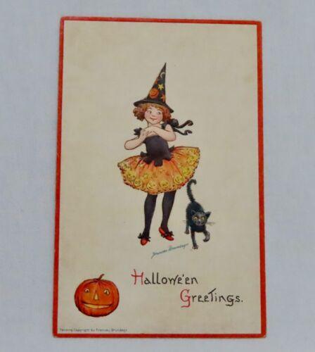 Vintage Frances Brundage Halloween Postcard - 80934