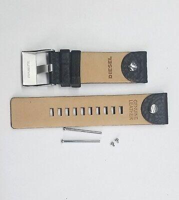DIESEL 24 MM 100% ORIGINAL BLACK LEATHER STRAP WITH PINS DZ7256 WATCH MODEL NEW