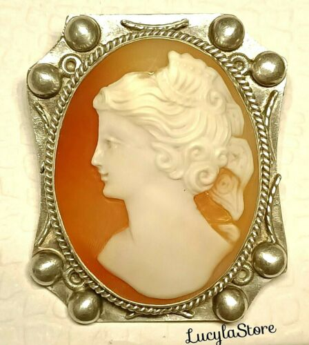 Vintage CAMEO Detailed HandMade Genuine Shell Coin Silver 800 Brooch Pin Pendant