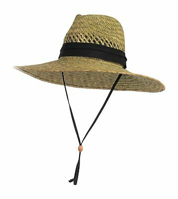 Vented Sun Hat (Vented Straw Lifeguard Sun Hat w/ 4.5 inch-Wide Brim & Chin Strap – One)