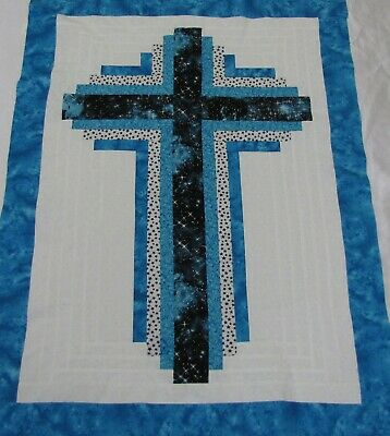 "Quilt Top~Patchwork~Log Cabin Cross~PIECED~Cosmos 1~Baby~Wall~Lap~30""X40""~USA"