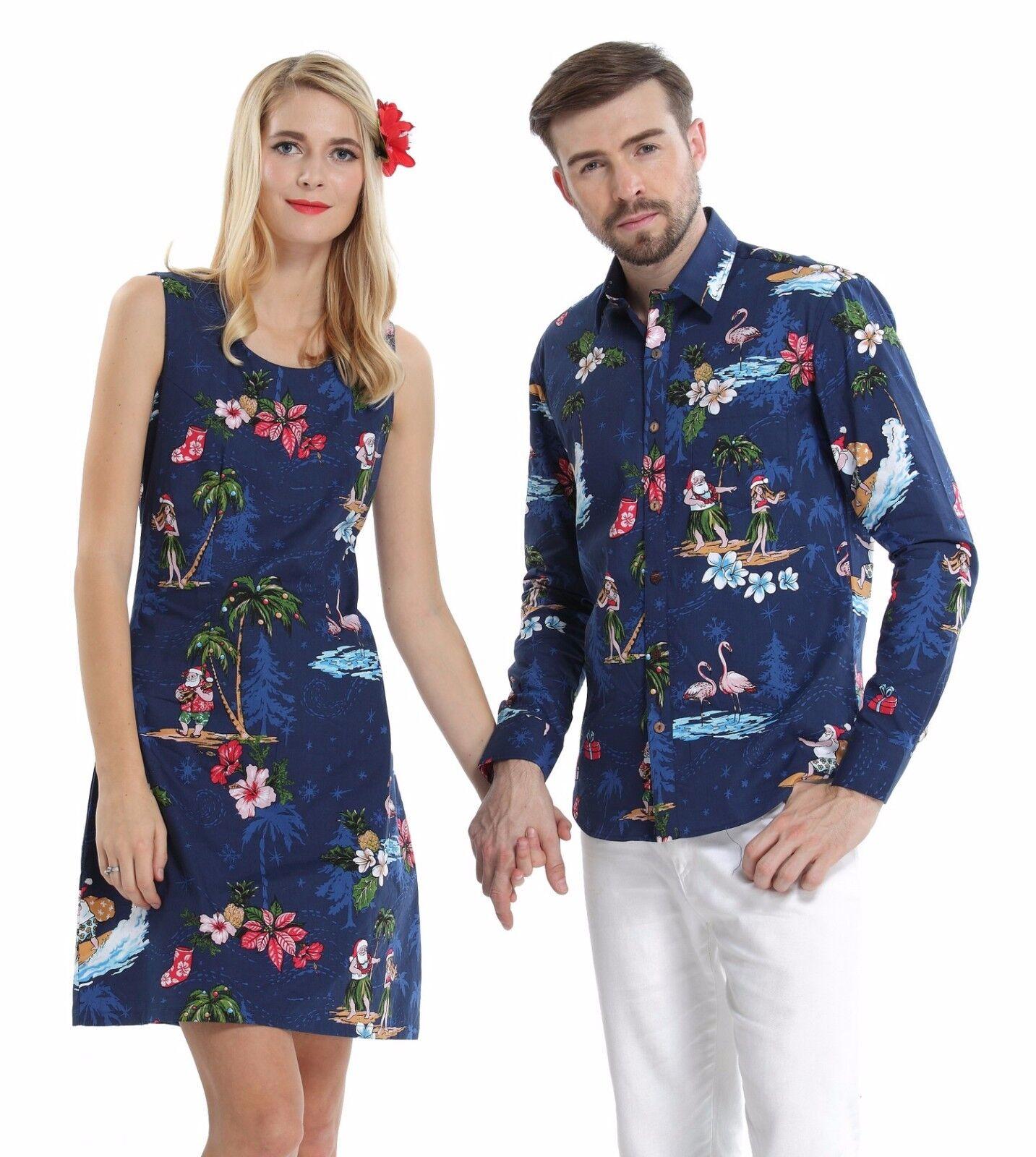 Christmas Santa Couple Matching Dress Long Sleeve Shirts ...