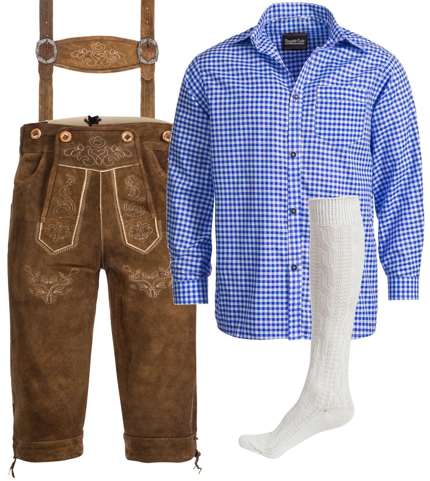 Herren Trachten Set Lederhose  rehbraun + Trachtenhemd blau + Strümpfe weiß