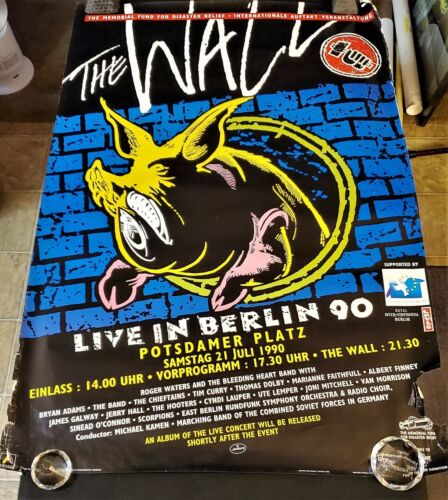 🔥RARE!🔥 THE WALL Roger Waters Live in Berlin 1990 Street Team Promo Poster