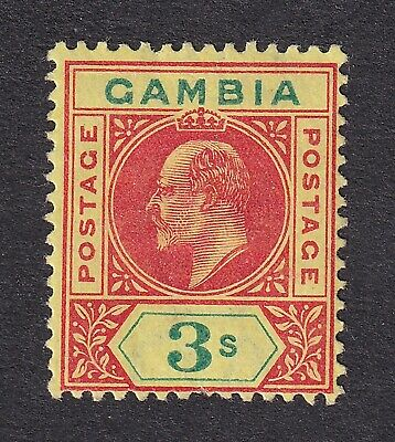 Gambia  1902-05  3/- mint hinged