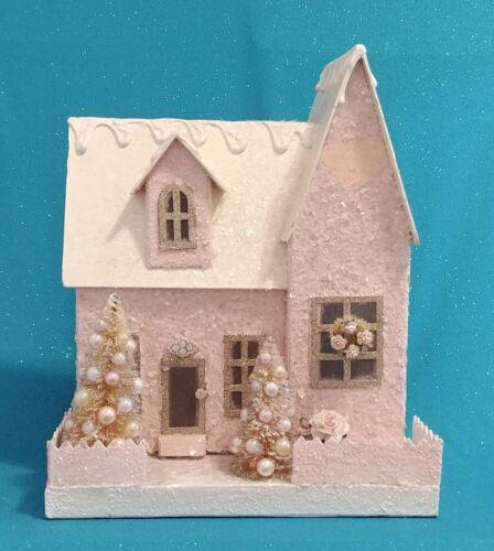 Handmade Extra-Large Pink Putz Glitter House – It Lights Up!