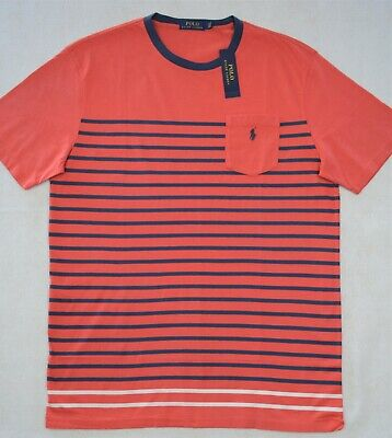 Polo Ralph Lauren TShirt Red Blue Striped with Chest Pocket 3XB 3XLT 4XB (Big And Tall Polo Shirts With Pockets)