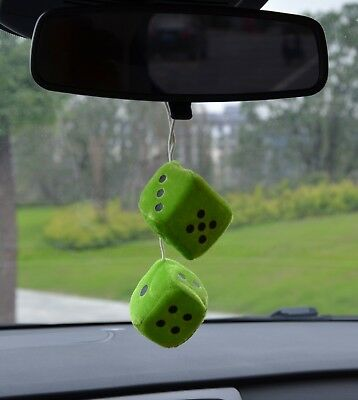 Nice velour type dice car  air freshener 2 x 2 inches to hang from mirror  lemon