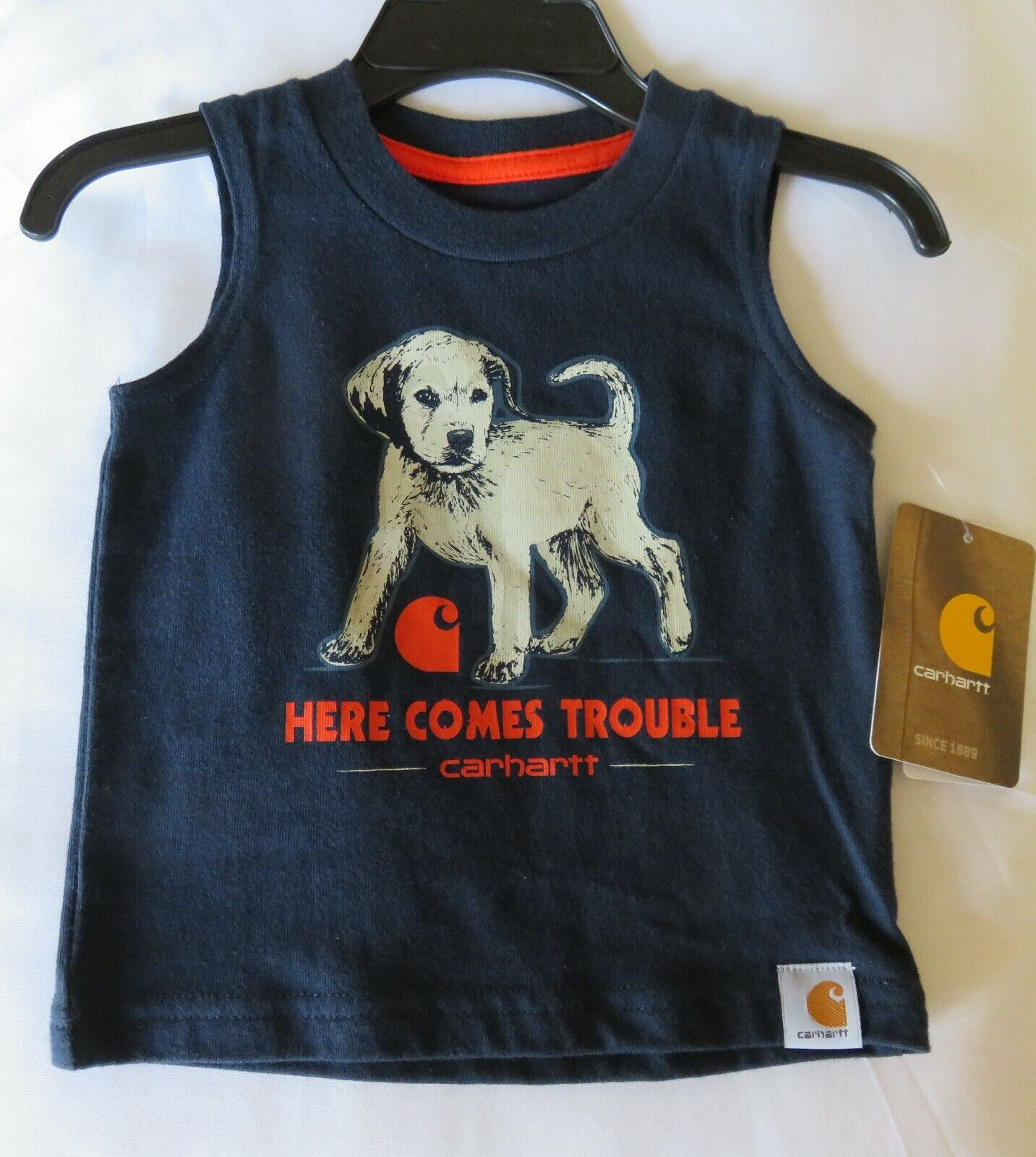 New SHIRT Here Comes Trouble Sleeveless 3 month CARHARTT Bab