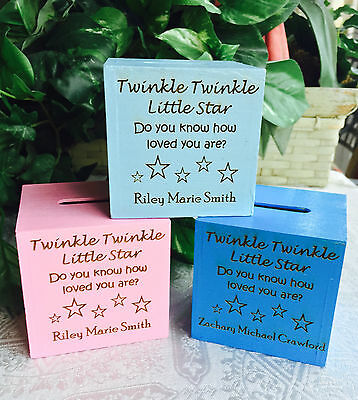 Personalized Wood Mini Bank / Money Gift Box for Baby Shower or kid's Birthday