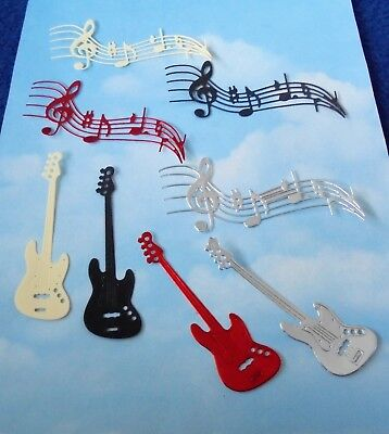 Die Cut x 8 in foil,  Guitar, music, instruments, topper, embellishment