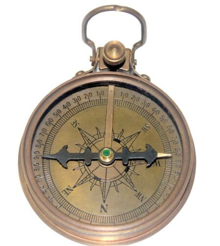 Antique Nautical Brass Anchor Magnetic Compass