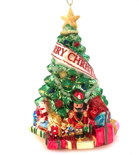 """7"""" Glass Merry Christmas Presents Under Tree Ornament Gifts Nutcracker"""