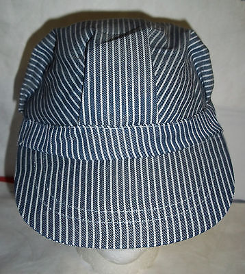 Train Engineer's Conductor's Blue Striped hat cap fits boys/girls - Engineer Caps