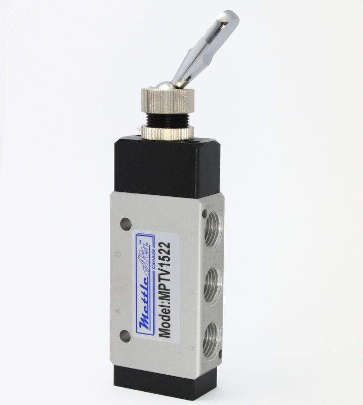 """1pc Pneumatic Air Switch Toggle Valve 1/4"""" NPT Detented 4 Way MettleAir MPTV1522"""