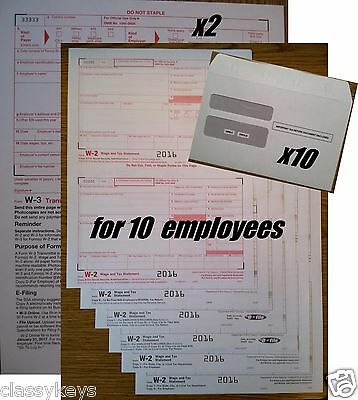2016 Irs Tax Forms Kit   W 2 Wages 6 Pt Laser For 10 Employees   Envelopes   W 3