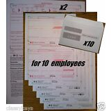 2016 IRS TAX FORMS KIT:: W-2 Wages 6-pt LASER for 10 employees + envelopes + W-3