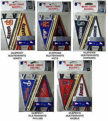 Embroidered 3 D Stickers - NEW 2 pc MLB PENNANTS & STICKS Baseball Teams Embroidered EK SUCCESS 3D Stickers