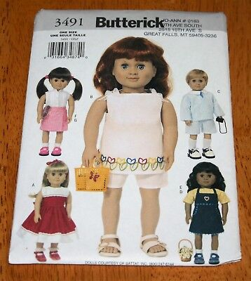 "Butterick Pattern #3491 DOLL CLOTHES 18"" BOY & GIRL- NEW - PANTS, JUMPER, DRESS"